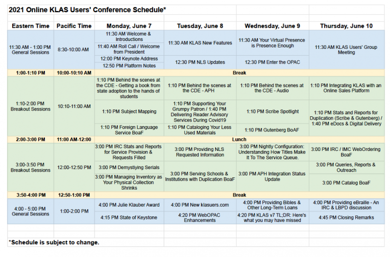 Screenshot of KLAS UC 2021 Overview Schedule
