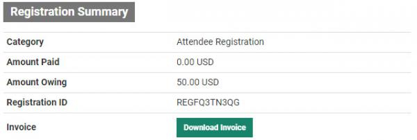 Screenshot of the Registration Summary section of the page, which includes details of the registration, and a Download Invoice button.