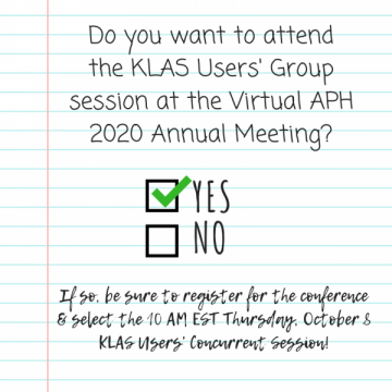 KLAS at Virtual APH 2020 Annual Meeting