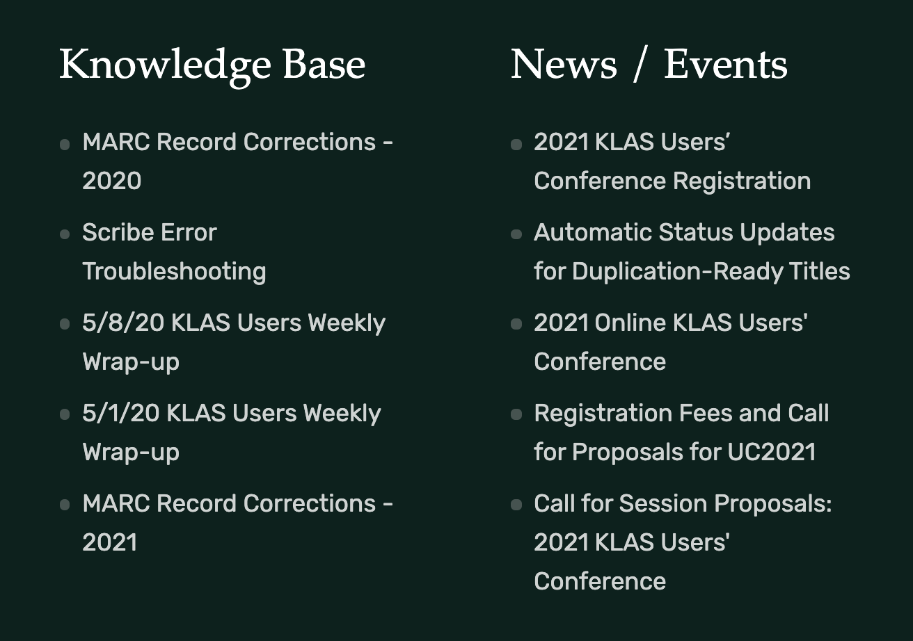 Screenshot of the footer section showcasing the most recent content. Knowledge Base and News / Events are the headers at H3.