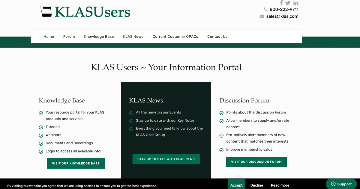 Screenshot of the new KLASusers.com home page